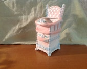 Vintage Nursery Planter. Pink and blue highchair. Napco.