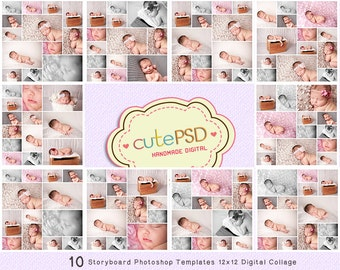 Photo Collage Templates - Photoshop Collage Templates - Storyboard Templates - PSD Templates - Photography Photo Templates 12x12 - CPZ006