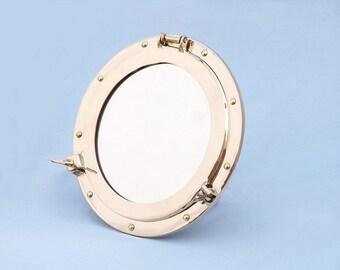 "Brass Porthole Mirror 12"" - Nautical Port Hole Naval Mirrors"