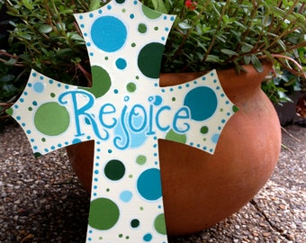 Wooden, Hand Painted Cross with Multi-Colored Polka Dots
