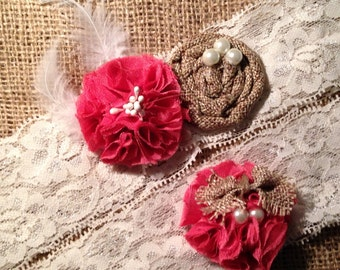 Burlap Garter-  Country Garter- Bridal Wedding Garter- vintage rustic garter -Burlap Coral  garter