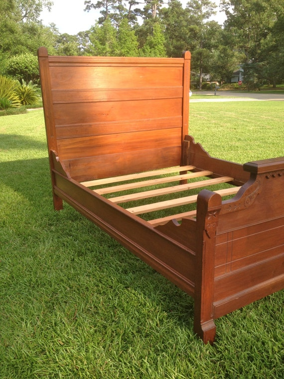 Antique Vintage Carved High Back Wood Bed With Headboard