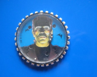 Frankenstein Monster Pin made from  vintage 1991 jiggle toy