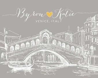 Venice Italy Italian Personalized Art Wedding Anniversary Gift, Honeymoon Engagement Present, Rialto Bridge, Skyline, Venetian Venezia