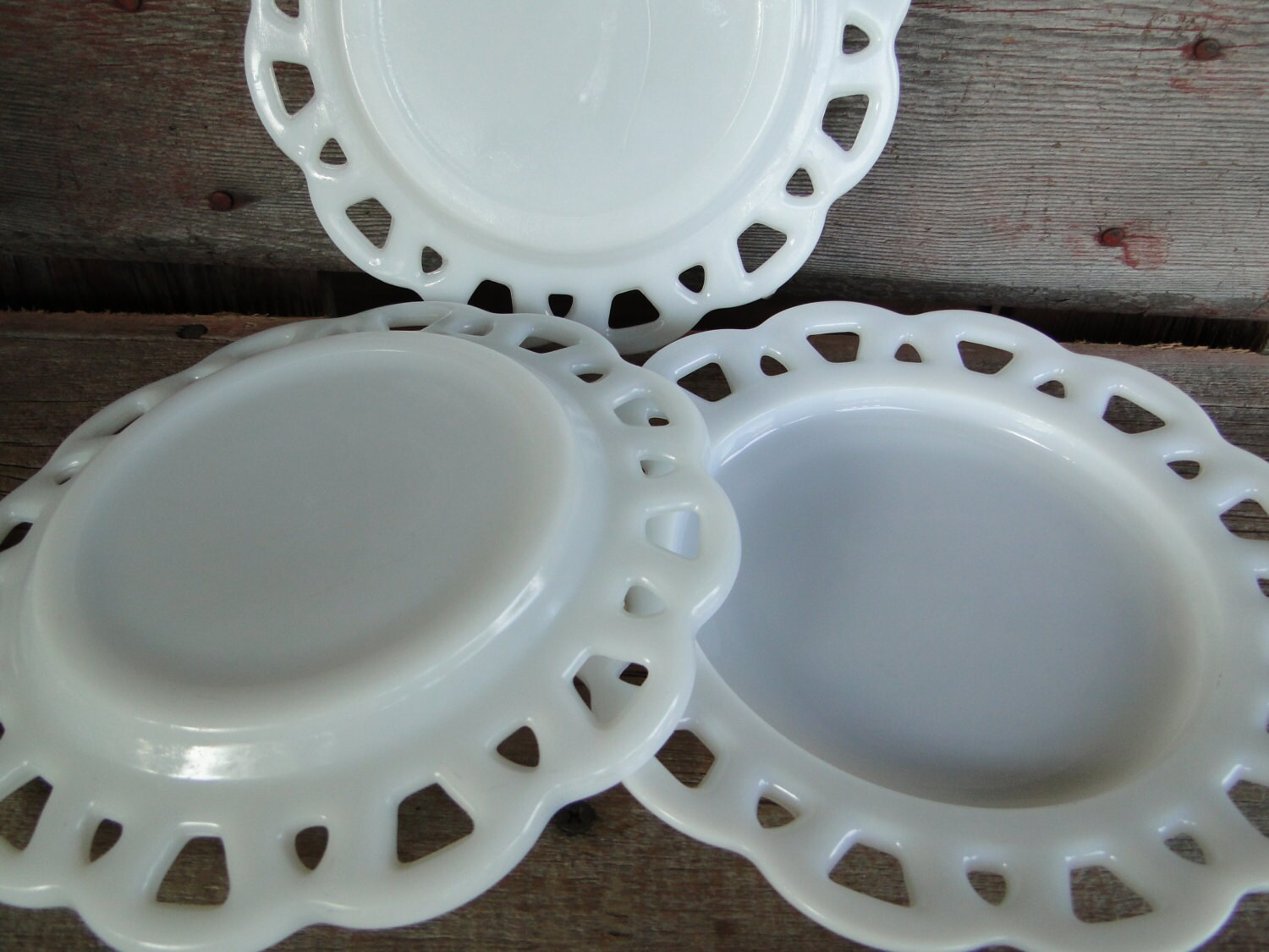 Vintage white milk glass scalloped plate by Anchor Hocking