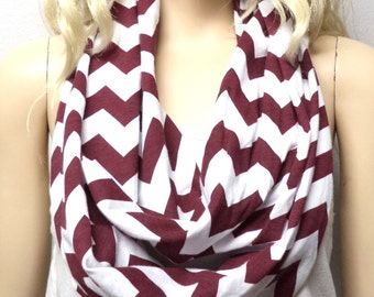 Maroon & White Chevron Print  Infinity Scarf   Jersey Knit Gift Ideas