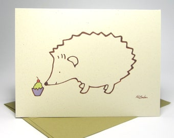 Kids Birthday Card, Funny Birthday Card, Hedgehog Card, Recycled Illustrated Card (1043)