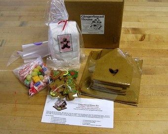 MEDIUM Deluxe Kit Gingerbread House / DIY / Do It Yourself / Edible / Includes Fresh Baked Gingerbread Pieces, Icing & Candy  Build Your Own