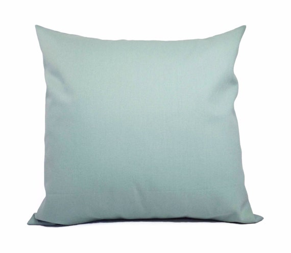 Two Solid Spa Blue Throw Pillow Covers Blue by CastawayCoveDecor