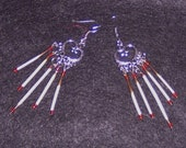 Earrings / Chandelier Porcupine quill and beads / Handcraft