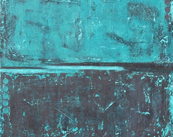 Mixed Media Original, Abstract, Minimalist, teal, navy, gray, grungy, heavily textured, canvas painting, abstract painting, circles, art