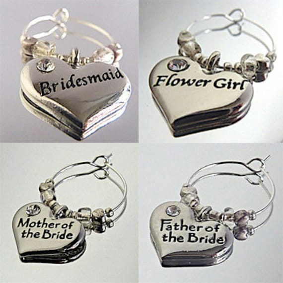 wine glass charms wedding roles with engraved silver plated