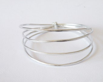 Wire wrapped bangles modern aluminum bangles by SteamyLab