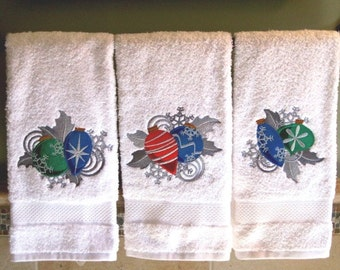 Christmas Hand Towel with Dazzling Ornaments