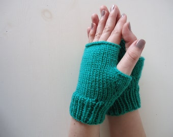 Emerald fingerless mittens, green mittens, soft acrylic gloves