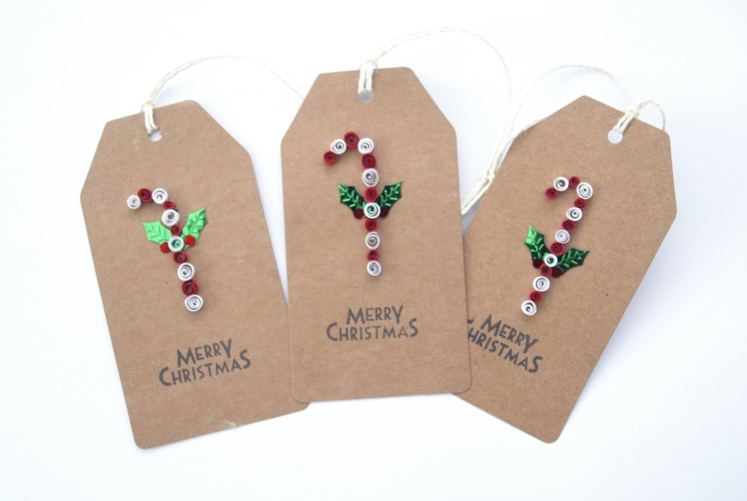 Christmas Tags: Quilled Christmas Candy Cane Gift Tags