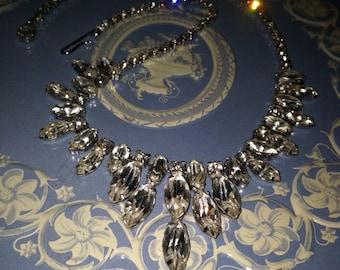 Vintage elegant rhinestone necklace bride bridal Epsteam - 0215