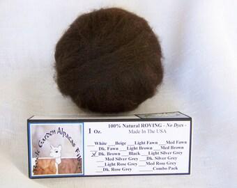 1 oz. Alpaca Dark Brown 100% Natural Prime Roving for Spinning, Nuno Felting or Needle Felting
