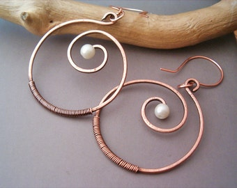 Wire Wrapped Spiral Earrings old-looking Copper  - Handmade Copper Earrings - wire wrapped Earrings handmade