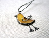 Bird necklace - yellow filligree stained glass and copper wire - ArtKvarta
