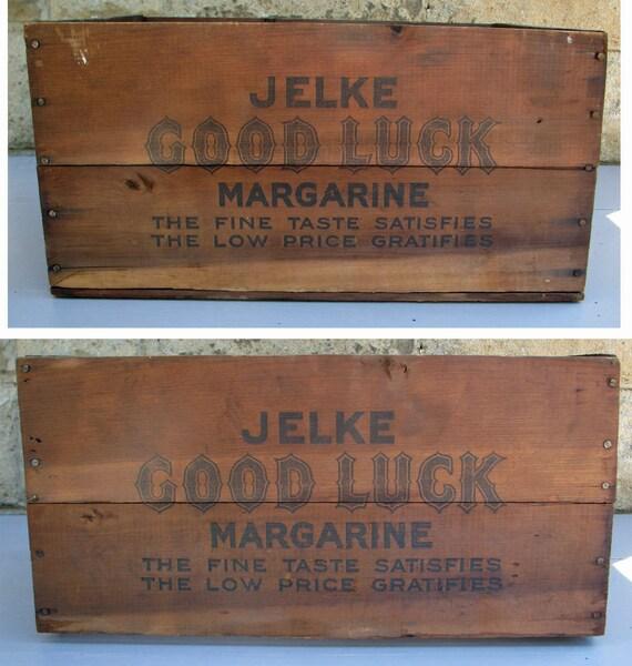 Vintage Jelke Good Luck Margarine Wooden Box