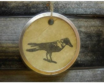 Crow Gift Tags, Metal Rim Gift Tags with Crow, set of 12, sized 1 9/16'