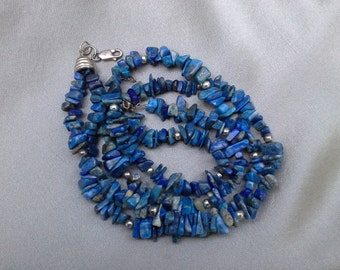 Brilliant Blue Lapis Lazuli Necklace with 925 Sterling Silver Beads and Secure Lobster Clasp