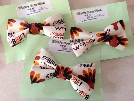 Thanksgiving Bow tie, Thanksgiving Hair Bow, Baby Thanksgiving - turkey bow - gobble til you wobble