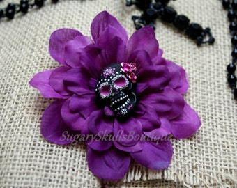 Day of the Dead, Sugar Skull Accessory, Dia de los Muertos, Hair Clip Flower, Purple Dahlia, Halloween Costume, All Saints Day