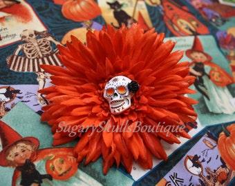 Sugar Skull, Day of the Dead, Accessory, Dia de los Muertos, Hair Clip Flower, Orange Halloween Costume, Sugary Skulls Boutique