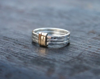 Sterling silver and gold ring. Unique silver rings. Gold and silver ring. Hammered silver band ring.  Silver and gold wedding band. Handmade
