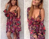 VTG Amazing 3 Piece outfit Abstract Dress/Belt/Coverup