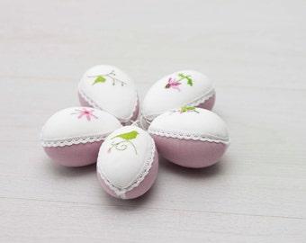 Easter tree decor set of  5 easter eggs  linen with cross stitch picture handmade, Easter egg ornament easter decor easter eggs