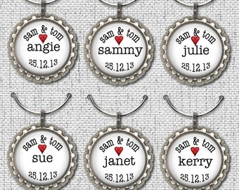 60 WINE GLASS CHARMS, wedding date charms, personalized wine charms, wedding party,party favors ,party accessories