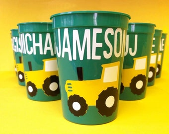Green and Yellow Tractor Personalized Party Favor Stadium Cups