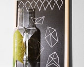 hand painted recycled wine bottle upcycled yellow lime green geometric modern autumn yellow home decor - StudioSuzanna