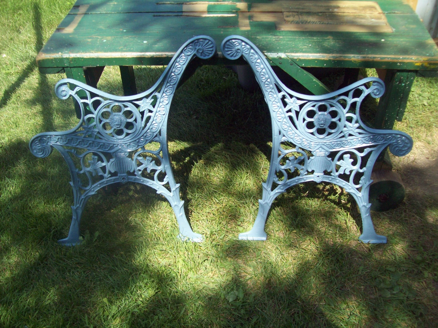 Vintage Cast Iron Park Bench Ends With Lions Head