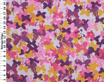 Butterfly Fabric, Pink/Purple/Mustard Butterfly Fabric, Decorative Novelty Fabric, Home Decor Fabric, (1/2) Yard 18'' Length, 45'' Width