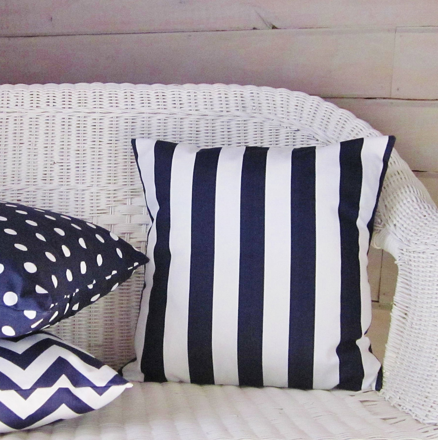 Blue Striped Throw Pillow Cover : Navy Blue Stripe Pillow Cover Decorative Throw Accent Indigo