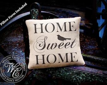 Housewarming Gift, Home Sweet Home Burlap Pillow, Perfect Wedding Gift, Shower Gift, House warming Gift