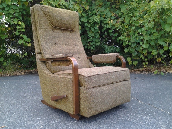 A Sweet Mid Century Modern High Back Rocker Recliner Chair