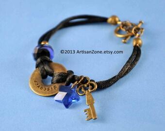 Key Star Discover Steampunk ANTIQUE BRASS Companion Bracelet Con Jewelry Skeleton Key