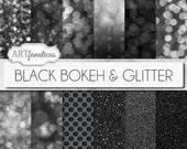 "Bokeh Digital Papers ""BLACK BOKEH & GLITTER"" Bokeh Overlay, Black Bokeh Digital Backgrounds,Glitter,Bokeh for Photographers, Invitations"
