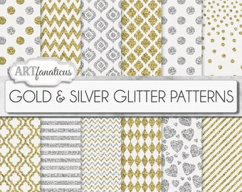 "Gold silver glitter papers ""Gold & Silver Glitter Patterns"" gold and silver glitter patterns on white textured backgrounds"