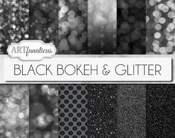 "Bokeh Digital Papers ""BLACK BOKEH & GLITTER"" Bokeh Overlay, Black Bokeh Digital Backgrounds,Glitter,Bokeh for Photographers, Invitations"