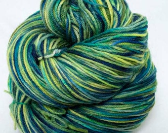Hand Painted Sock Yarn.  Superwash Merino, Cashmere, Nylon. Shades of Blue Greens.