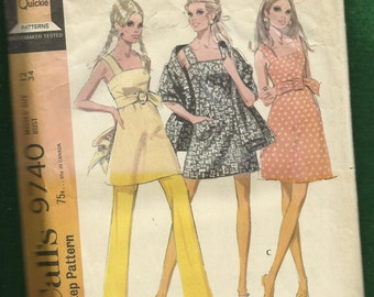 1969 McCalls 9740 Mini Dress or Tunic with French Darts & Wide Shoulder Straps Belt Stole and Pants Size 12