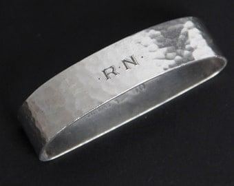 Sterling Silver Hammered Napkin Ring by Herbst & Wassall Monogrammed RN