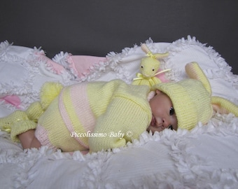 "knitting pattern  for a 19-22""/0-3 months bunny sweater set reborn baby ooak"