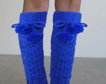 Royal Blue Girls Legwarmers Hand knit leg warmers with pom pom